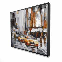 Framed 48 x 60 - 3D - Abstract citystreet with yellow taxis