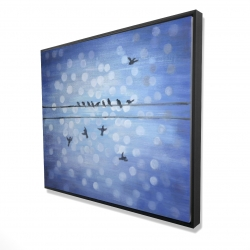 Framed 48 x 60 - 3D - Birds on a wire with a clear blue sky