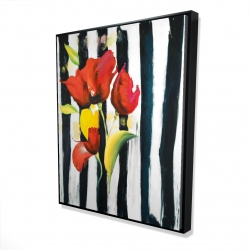 Framed 48 x 60 - 3D - Red flowers on stripes