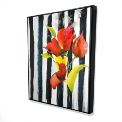 Framed 48 x 60 - 3D - Flowers on black and white stripes