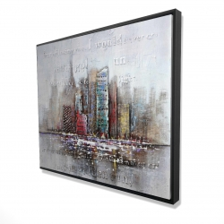 Framed 48 x 60 - 3D - Cityscape with typography in relief