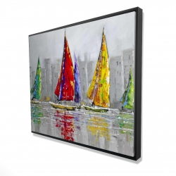 Framed 48 x 60 - 3D - Sailboats in the wind
