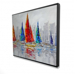 Framed 48 x 60 - 3D - Colorful boats near a gray city