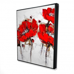 Framed 48 x 60 - 3D - Red poppies with texture