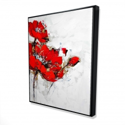 Framed 48 x 60 - 3D - Abstract red flowers with texture