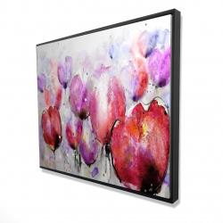 Framed 48 x 60 - 3D - Pink tulips field