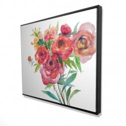 Framed 48 x 60 - 3D - Watercolor bouquet of flowers