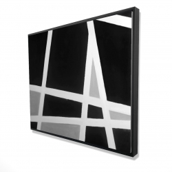 Framed 48 x 60 - 3D - Black and white abstract lines