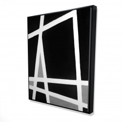 Framed 48 x 60 - 3D - Black and white abstract shapes