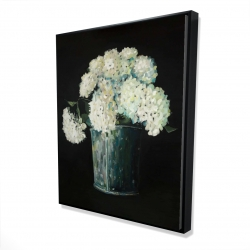 Framed 48 x 60 - 3D - White hydrangea flowers