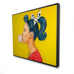 Framed 48 x 60 - 3D - Retro woman with beautiful ponytail