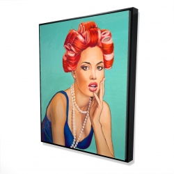 Framed 48 x 60 - 3D - Pin up girl with curlers