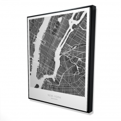Framed 48 x 60 - 3D - New york graphic map