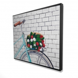 Framed 48 x 60 - 3D - Bicycle with a bouquet of tulips