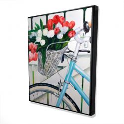 Framed 48 x 60 - 3D - Bicycle with tulips flowers in basket