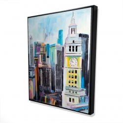 Framed 48 x 60 - 3D - Colorful cityscape of manhattan