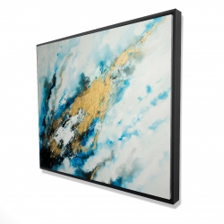 Framed 48 x 60 - 3D - Blue and gold marble