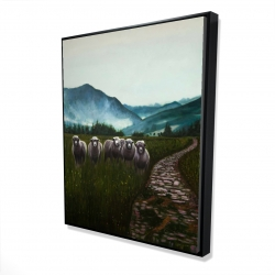 Framed 48 x 60 - 3D - Sheep in the countryside