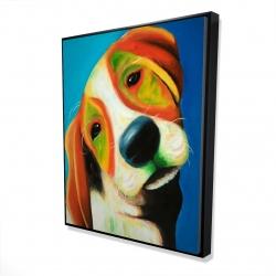Framed 48 x 60 - 3D - Colorful beagle dog