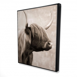 Framed 48 x 60 - 3D - Beautiful highland cattle sepia
