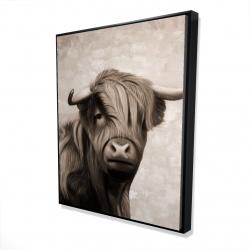 Framed 48 x 60 - 3D - Highland cattle sepia