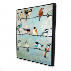 Framed 48 x 60 - 3D - Small colorful birds
