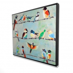 Framed 48 x 60 - 3D - Small abstract colorful birds
