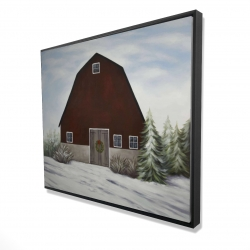 Framed 48 x 60 - 3D - It's winter on the farm