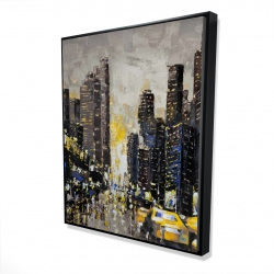 Framed 48 x 60 - 3D - Abstract and texturized city with yellow taxis