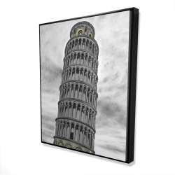 Framed 48 x 60 - 3D - Outline of tower of pisa in italy
