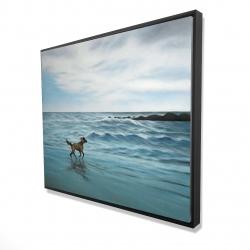 Framed 48 x 60 - 3D - Dog on the beach