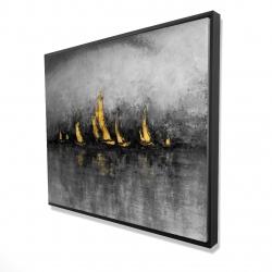 Framed 48 x 60 - 3D - Gold sailboats