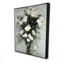 Framed 48 x 60 - 3D - Lisianthus white bouquet
