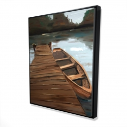 Framed 48 x 60 - 3D - Lake, dock and boat