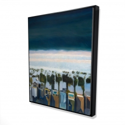 Framed 48 x 60 - 3D - Bird's eye view of beach