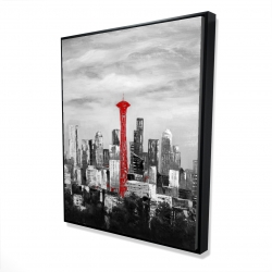 Framed 48 x 60 - 3D - Space needle in red