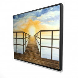 Framed 48 x 60 - 3D - Sunset in the sea