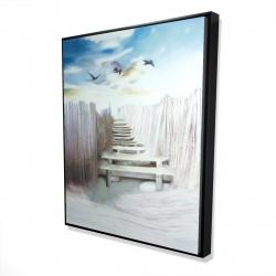 Framed 48 x 60 - 3D - Break at the beach