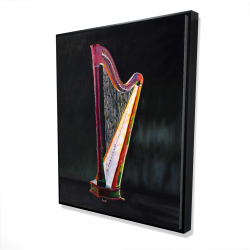 Framed 48 x 60 - 3D - Colorful realistic harp 2