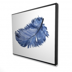 Framed 48 x 60 - 3D - Watercolor blue feather