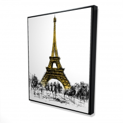Framed 48 x 60 - 3D - Outline of eiffel tour