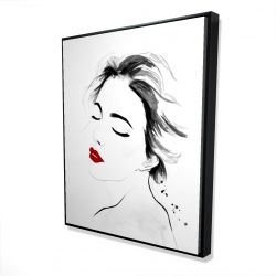 Framed 48 x 60 - 3D - Right side watercolor serenely lady portrait