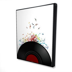 Framed 48 x 60 - 3D - Notes escaping from a vinyl record