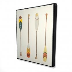 Framed 48 x 60 - 3D - Canoe paddles
