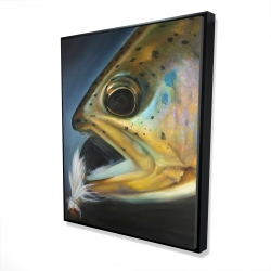 Framed 48 x 60 - 3D - Golden trout with fly fishing flie