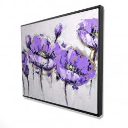 Framed 48 x 60 - 3D - Abstract purple flowers
