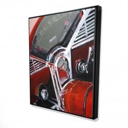 Framed 48 x 60 - 3D - Vintage red car dashboard