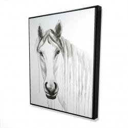 Framed 48 x 60 - 3D - Solitary white horse