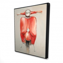 Framed 48 x 60 - 3D - Small red moped