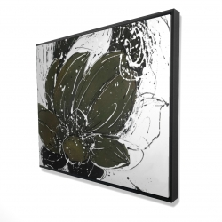 Framed 48 x 60 - 3D - Abstract flower with paint splash